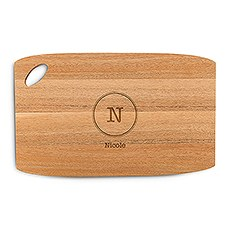 Personalized Wooden Cutting and Serving Board with Oval Handle - Typewriter Monogram