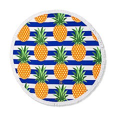 Personalized Round Beach Towel – Pineapple Pattern