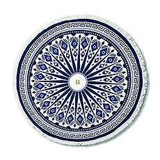 Personalized Round Beach Towel - Blue and White Mandala Pattern