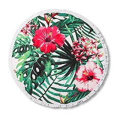 Personalized Round Beach Towel – Tropical Hibiscus Pattern