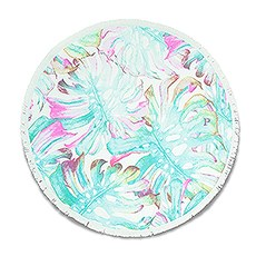 Personalized Round Beach Towel – Tropical Leaves Pattern