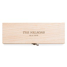 Personalized Wooden Wine Gift Box with Lid - Classic Etching