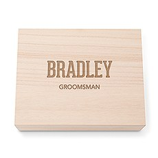 Personalized Wooden Keepsake Gift Box with Hinged Lid - Collegiate Font