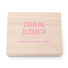 Personalized Wooden Keepsake Gift Box with Hinged Lid - Birth Date Print