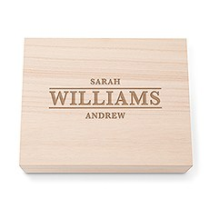 Personalized Wooden Keepsake Gift Box with Hinged Lid - Classic Serif Font