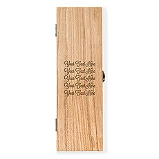Custom Engraved Wooden Wine Gift Box with Lid - Custom Script Text