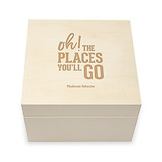 Personalized Wooden Keepsake Gift Box - Oh The Places You'll Go Etching