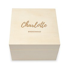 Personalized Wooden Keepsake Gift Box - Bold Script Etching