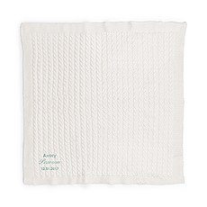 Personalized Cotton Cable Knit Baby Blanket - Script