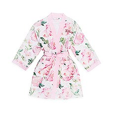 Personalized Embroidered Junior Bridesmaid Satin Robe with Pockets-Pink Floral