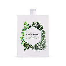 Personalized White Stainless Steel 3 oz. Hip Flask - Tropical Greenery