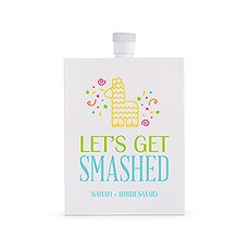 Personalized White Stainless Steel 3 oz. Hip Flask - Get Smashed