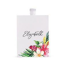 Personalized White Stainless Steel 3 oz. Hip Flask - Tropical Floral