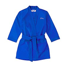 Personalized Flower Girl Satin Robe With Pockets - French Blue