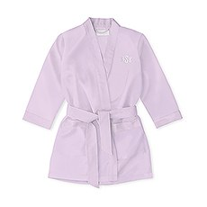 Personalized Flower Girl Satin Robe With Pockets - Lavender