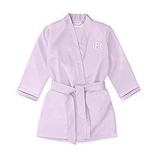 Personalized Flower Girl Satin Robe With Pockets - Lavender / Light Purple