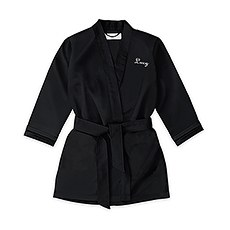 Personalized Flower Girl Satin Robe with Pockets - Black