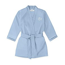Personalized Flower Girl Satin Robe With Pockets - Periwinkle / Light Blue