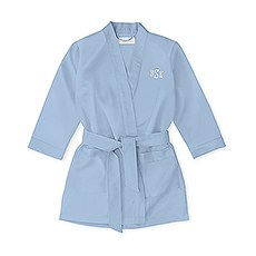 Personalized Flower Girl Satin Robe With Pockets - Periwinkle