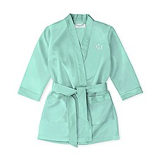 Personalized Flower Girl Satin Robe With Pockets - Mint Green