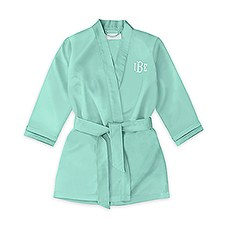 Personalized Flower Girl Satin Robe with Pockets- Mint Green