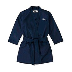 Personalized Flower Girl Satin Robe With Pockets - Navy