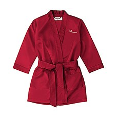 Personalized Flower Girl Satin Robe With Pockets - Ruby Red