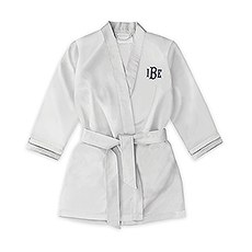 Personalized Flower Girl Satin Robe with Pockets - Silver