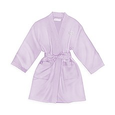 Personalized Junior Bridesmaid Satin Robe With Pockets - Lavender