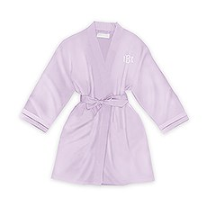 Personalized Junior Bridesmaid Satin Robe with Pockets- Lavender