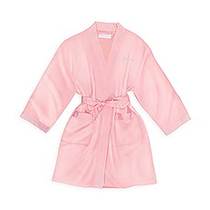 Personalized Junior Bridesmaid Satin Robe With Pockets - Light Pink