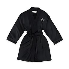 Personalized Junior Bridesmaid Satin Robe with Pockets - Black