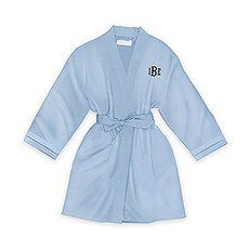 Personalized Junior Bridesmaid Satin Robe With Pockets- Periwinkle / Light Blue