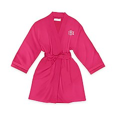 Personalized Junior Bridesmaid Satin Robe with Pockets - Fuchsia