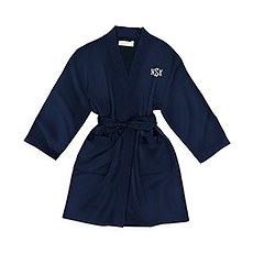 Personalized Junior Bridesmaid Satin Robe With Pockets - Navy