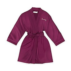 Personalized Junior Bridesmaid Satin Robe with Pockets- Plum Purple