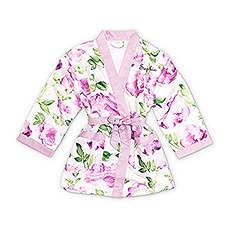 Personalized Flower Girl Satin Robe with Pockets - Lavender Floral