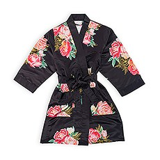 Personalized Flower Girl Satin Robe with Pockets - Black Blissful Blooms