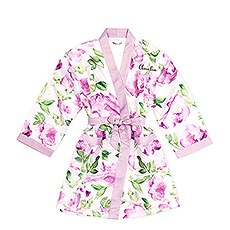 Personalized Junior Bridesmaid Satin Robe with Pockets - Lavender Floral