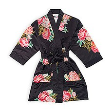 Personalized Junior Bridesmaid Satin Robe with Pockets- Black Blissful Blooms