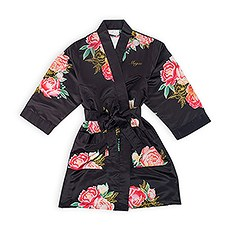 Personalized Junior Bridesmaid Satin Robe with Pockets - Black Blissful Blooms