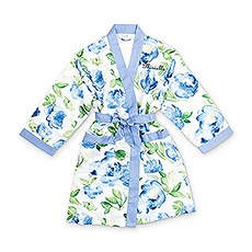Personalized Junior Bridesmaid Satin Robe with Pockets- Blue Floral