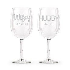 Large Personalized Wine Glass Set - Wifey and Hubby