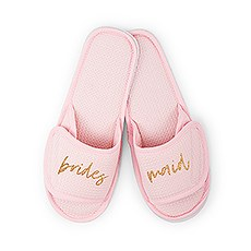 Women's Cotton Waffle Spa Slippers - Bridesmaid