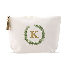 Personalized Canvas Makeup And Toiletry Bag For Women - Love Wreath Monogram