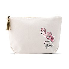 Large Personalized Canvas Makeup And Toiletry Bag For Women - Flamingo