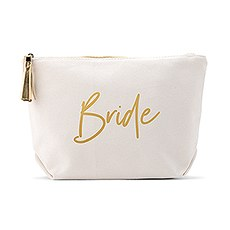 Large Personalized Canvas Makeup And Toiletry Bag For Women - Bride