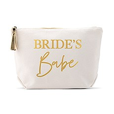 Large Personalized Canvas Makeup And Toiletry Bag For Women - Bride's Babe
