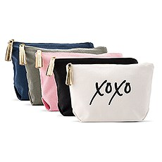 Large Personalized Canvas Makeup Bag - XOXO