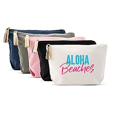 Large Personalized Canvas Makeup Bag - Aloha Beaches